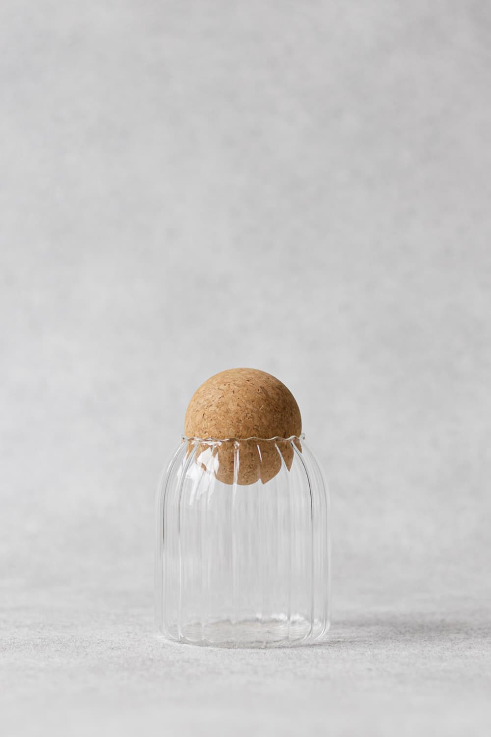 Ribbed Glass Jar with Cork Lid 500ml