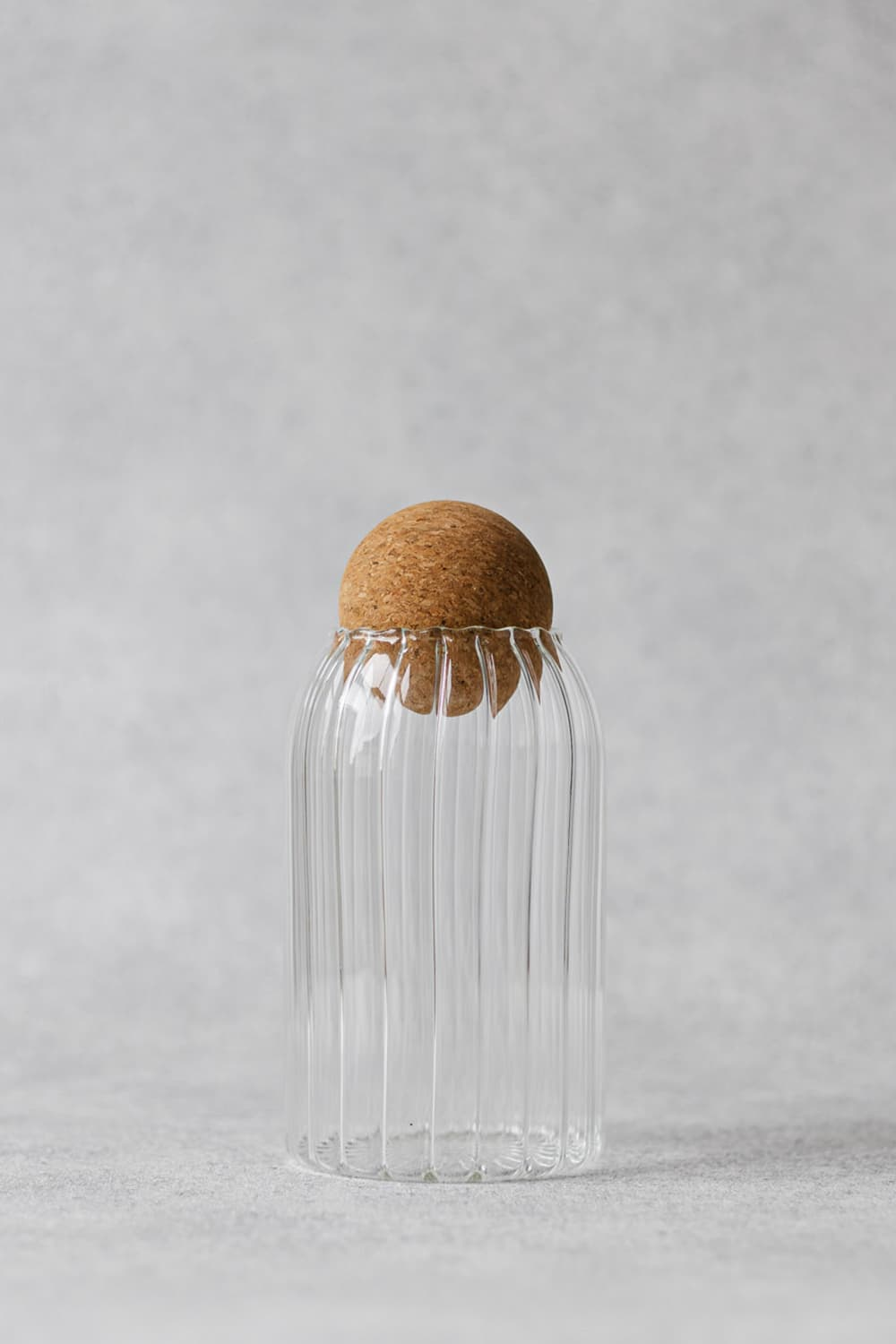 Ribbed Glass Jar with Cork Lid 800ml