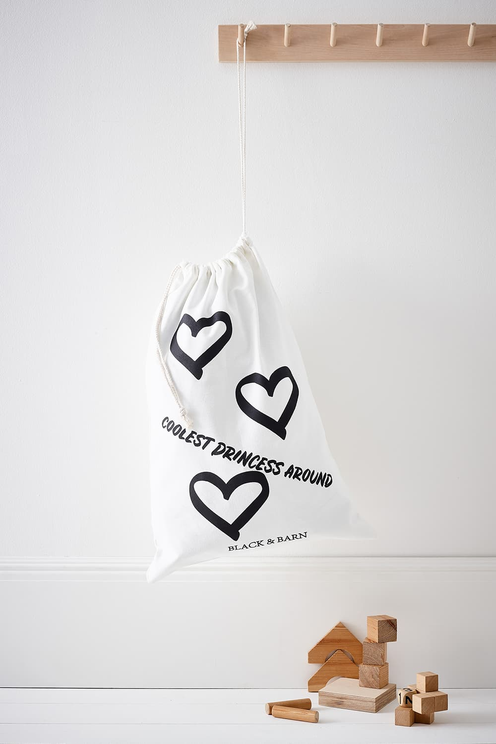 Kids Laundry & Toy Sack with Heart Print