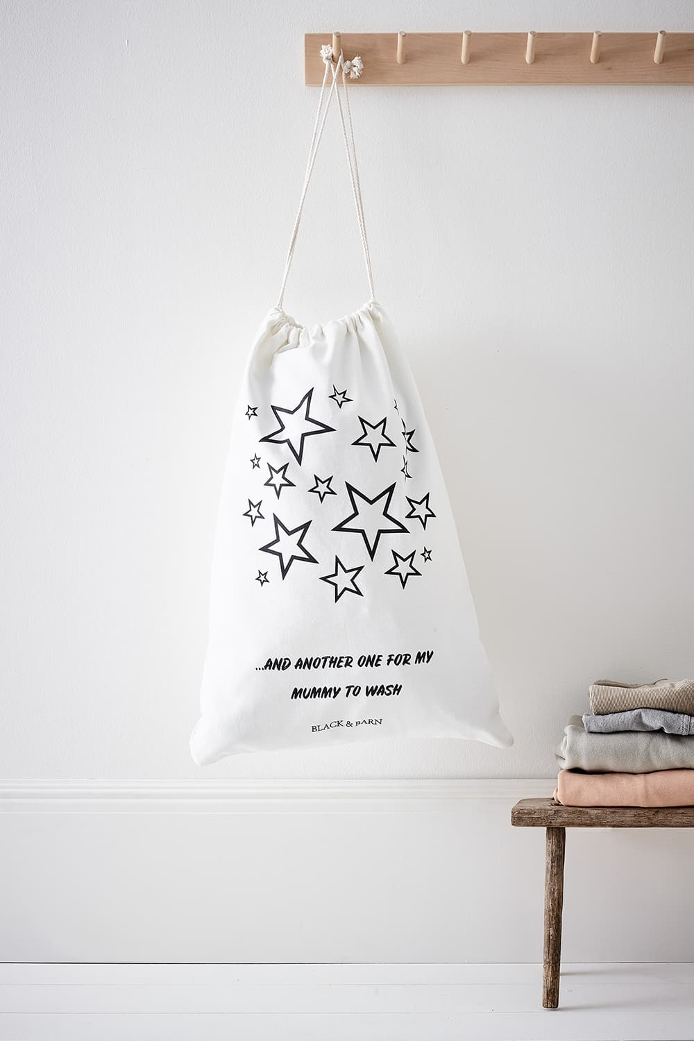 Kids Laundry & Toy Sack with Stars Print