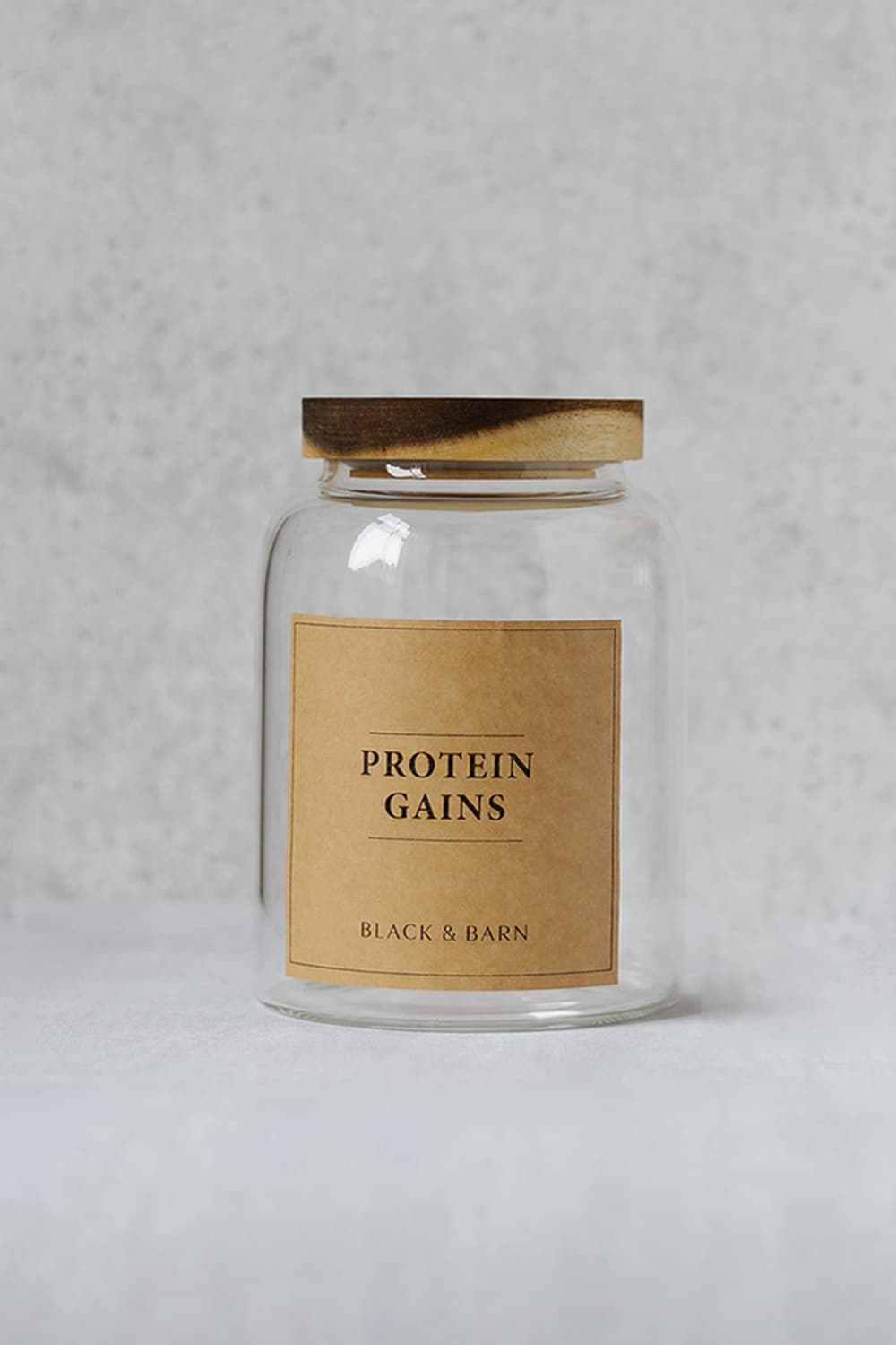 Clear Glass Pantry Jar with Kraft Label - 3 Litres