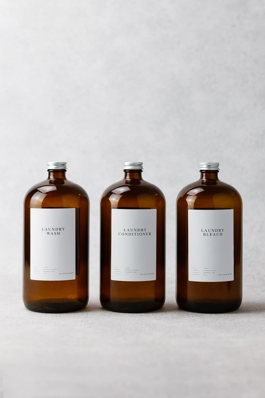 Luxury Amber Utility Bottles 3 x 1Litre