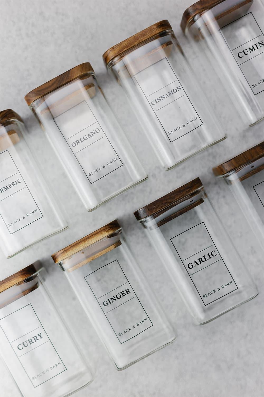 Wooden Spice Drawer Jar Set of 7