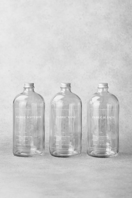 Clear Printed Utility Bottle Set - 3 x 1 Litre