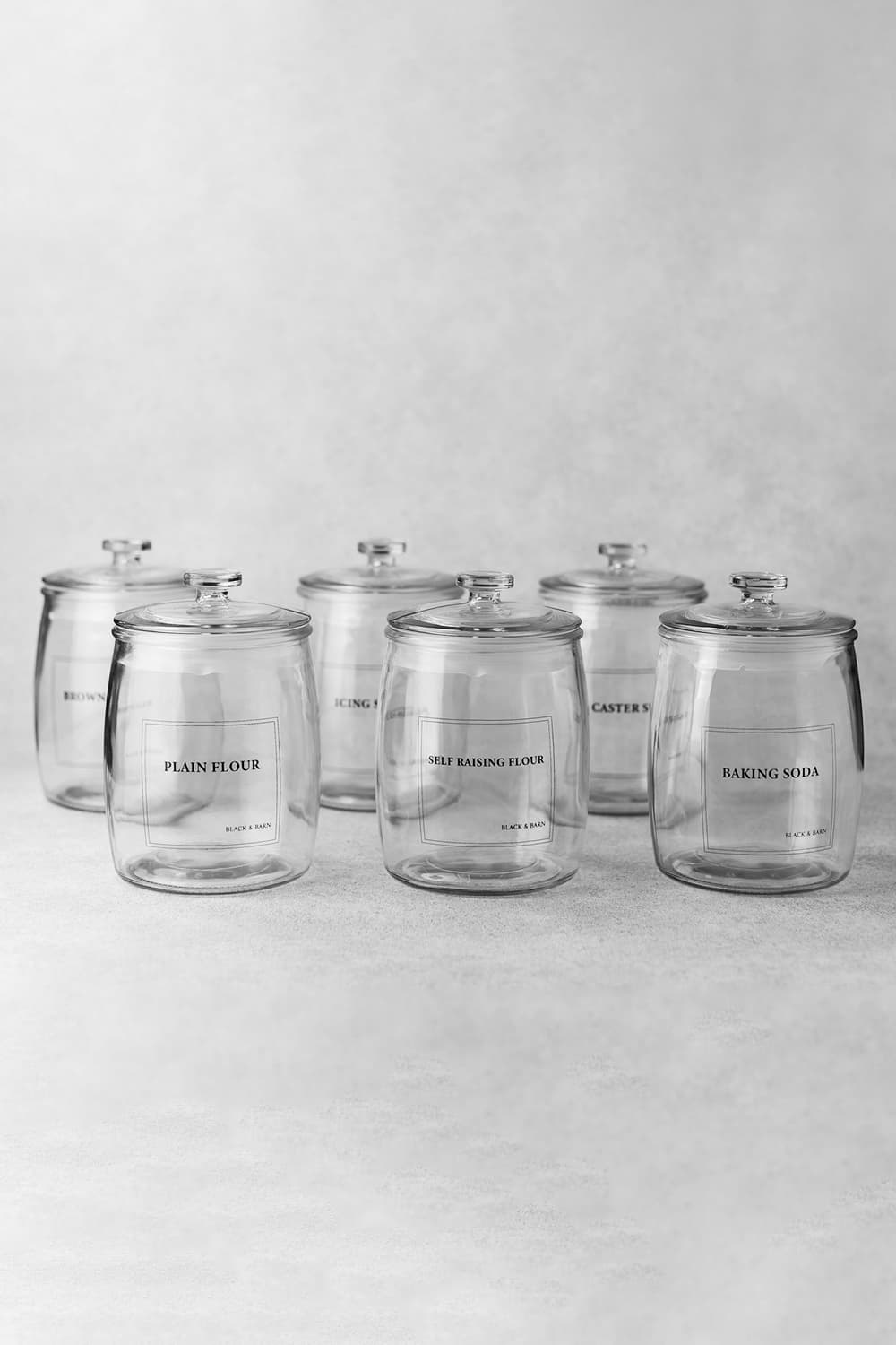 Army of baking jars with engraved label set