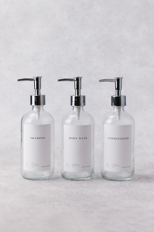 Luxury Clear Bathroom Essentials Trio 500ml