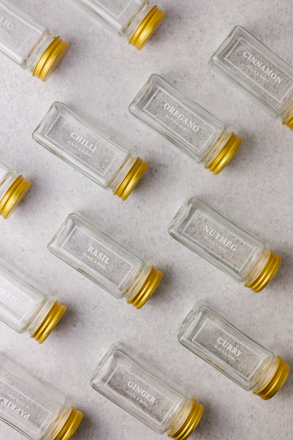 Set of 12 white printed spice jars with gold lid