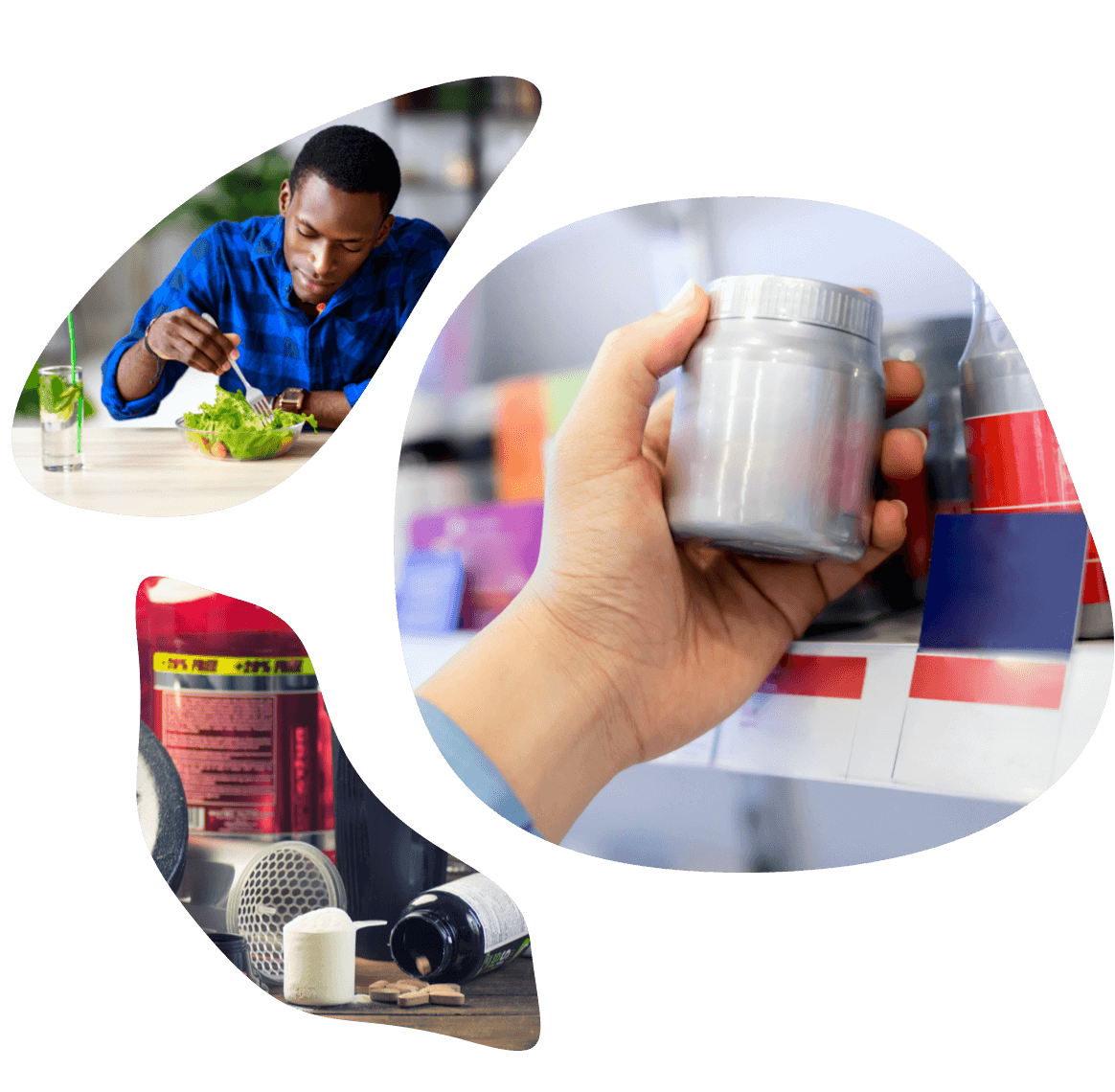 Photo grid representing nutrition therapeutic area (man eating salad, dietary supplement bottle, etc.).