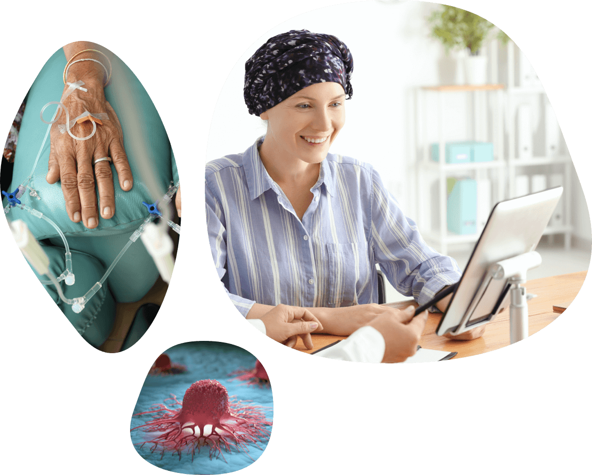 Photo grid representing oncology therapeutic area (IV going into vein in hand, a woman wearing a headwrap, etc.).