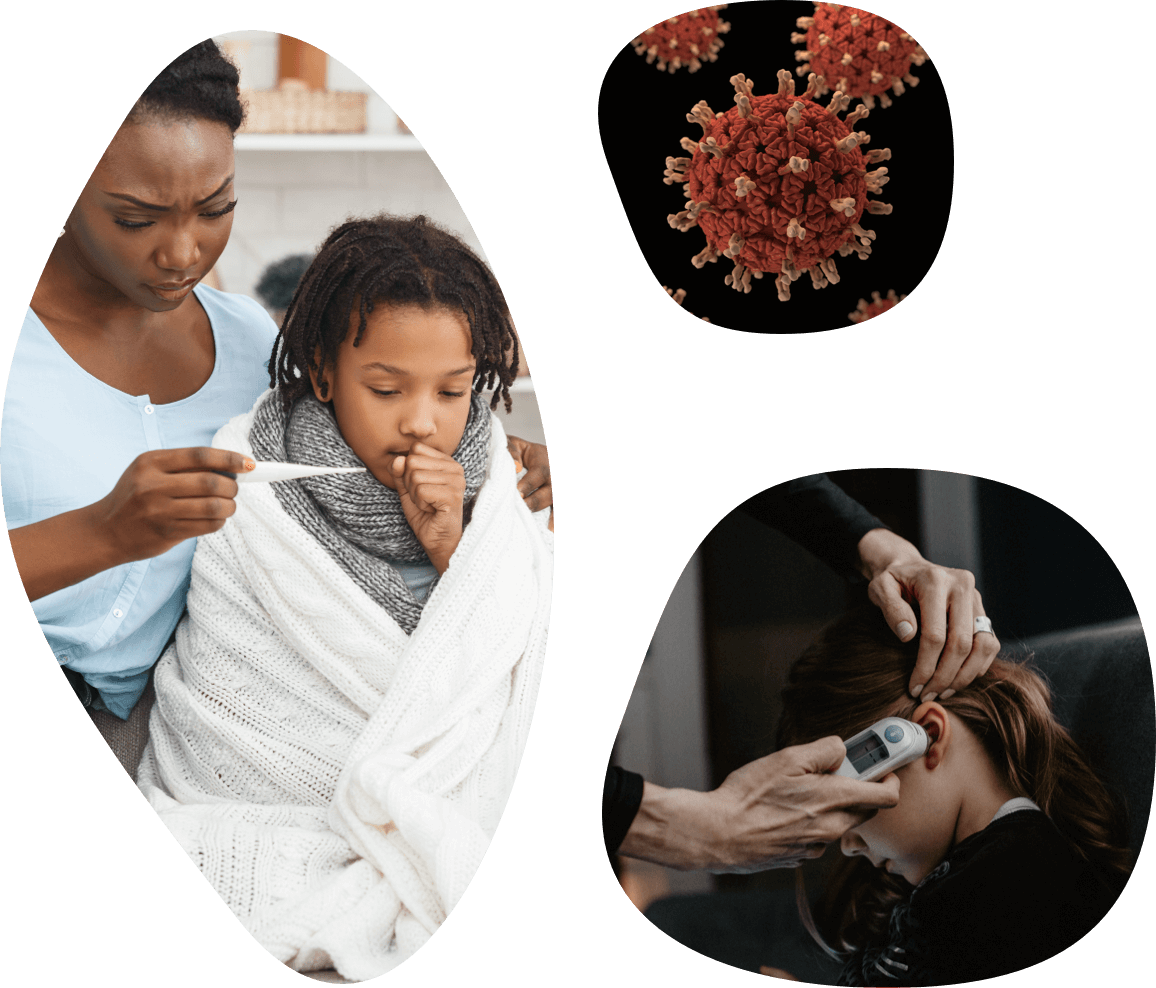 A collage of images representing a mother taking her child's temperature, a virus molecule, and a child getting her temperature taken through the ear.