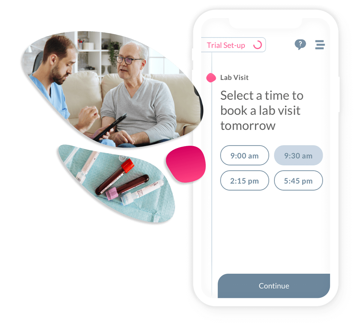 The Obvio App showing various times available for the participant to book a lab visit.