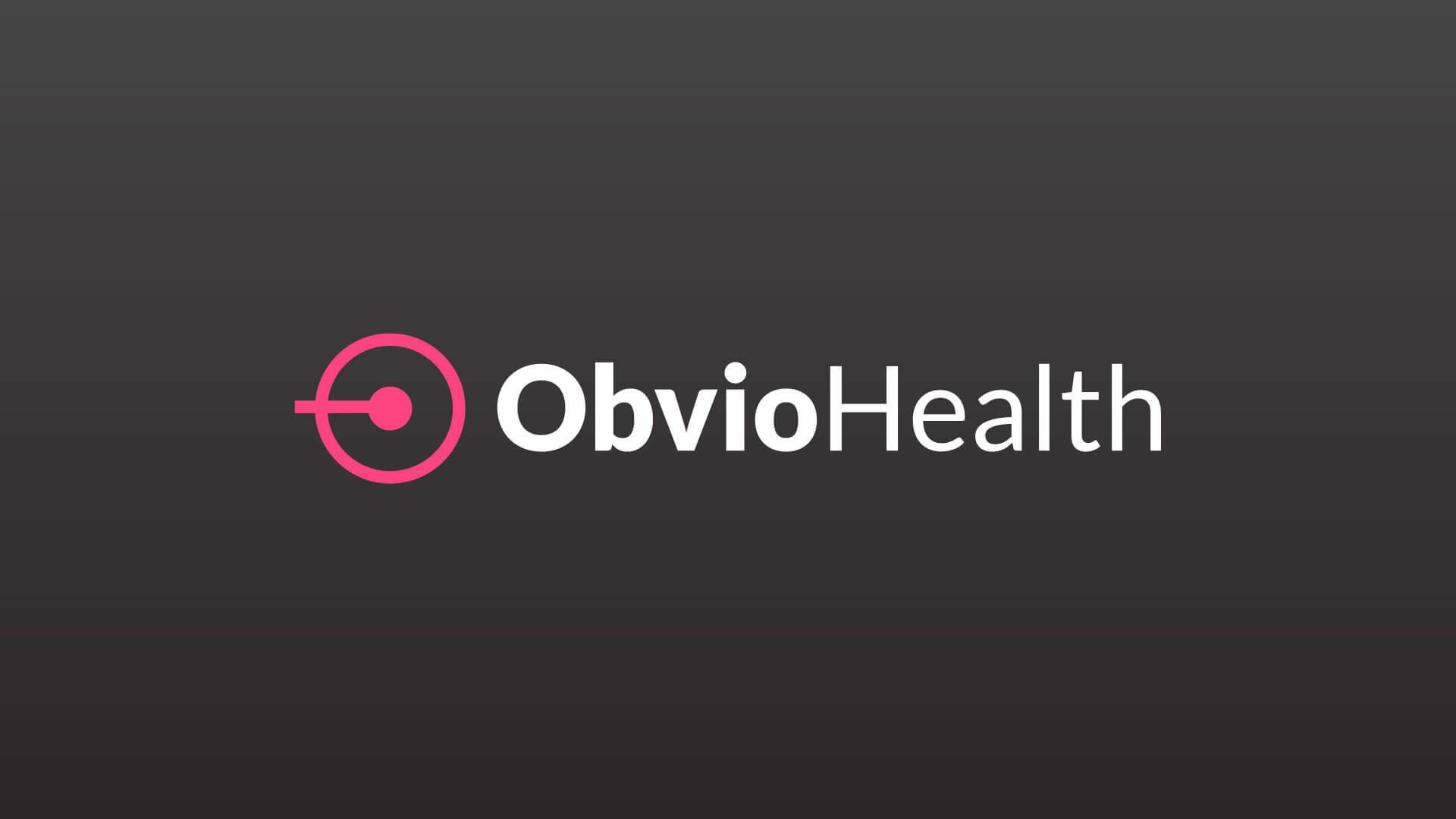 ObvioHealth primary logo on dark gray background.