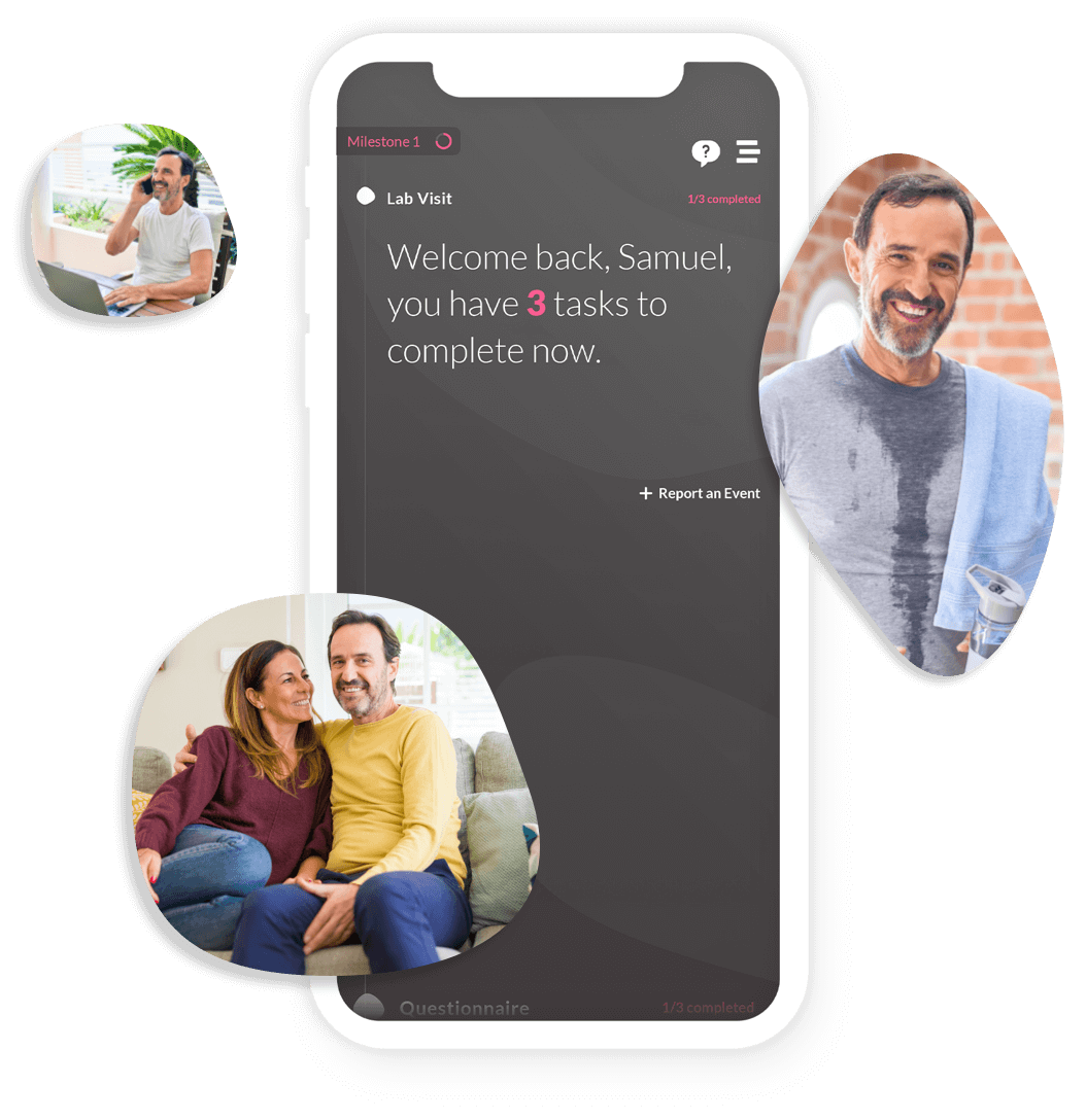 "Photo grid: The ""welcome back"" screen of the ObvioHealth app, with images of participants surrounding phone."