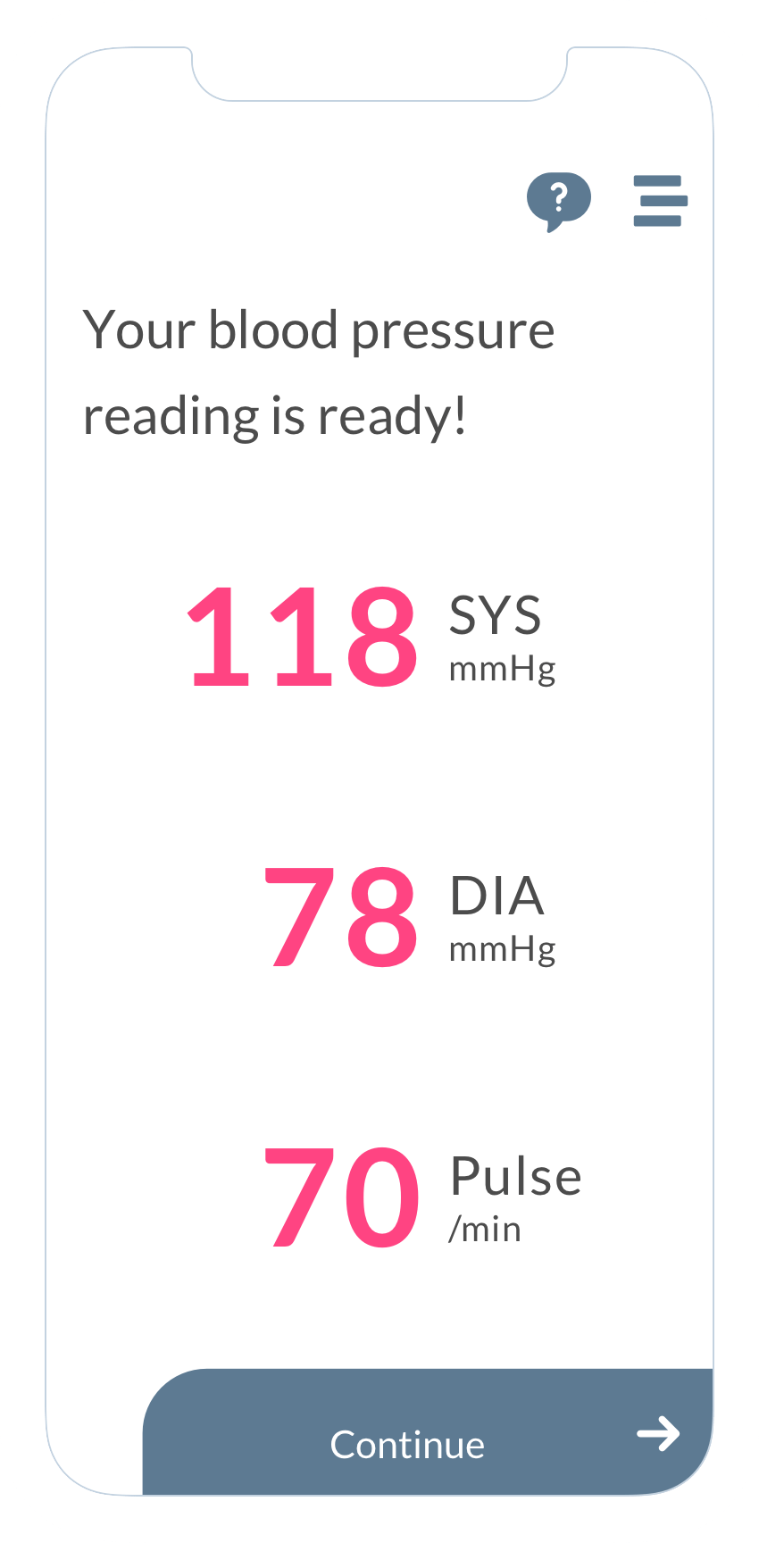 """Blood pressure reading"" screen of the ObvioHealth app."