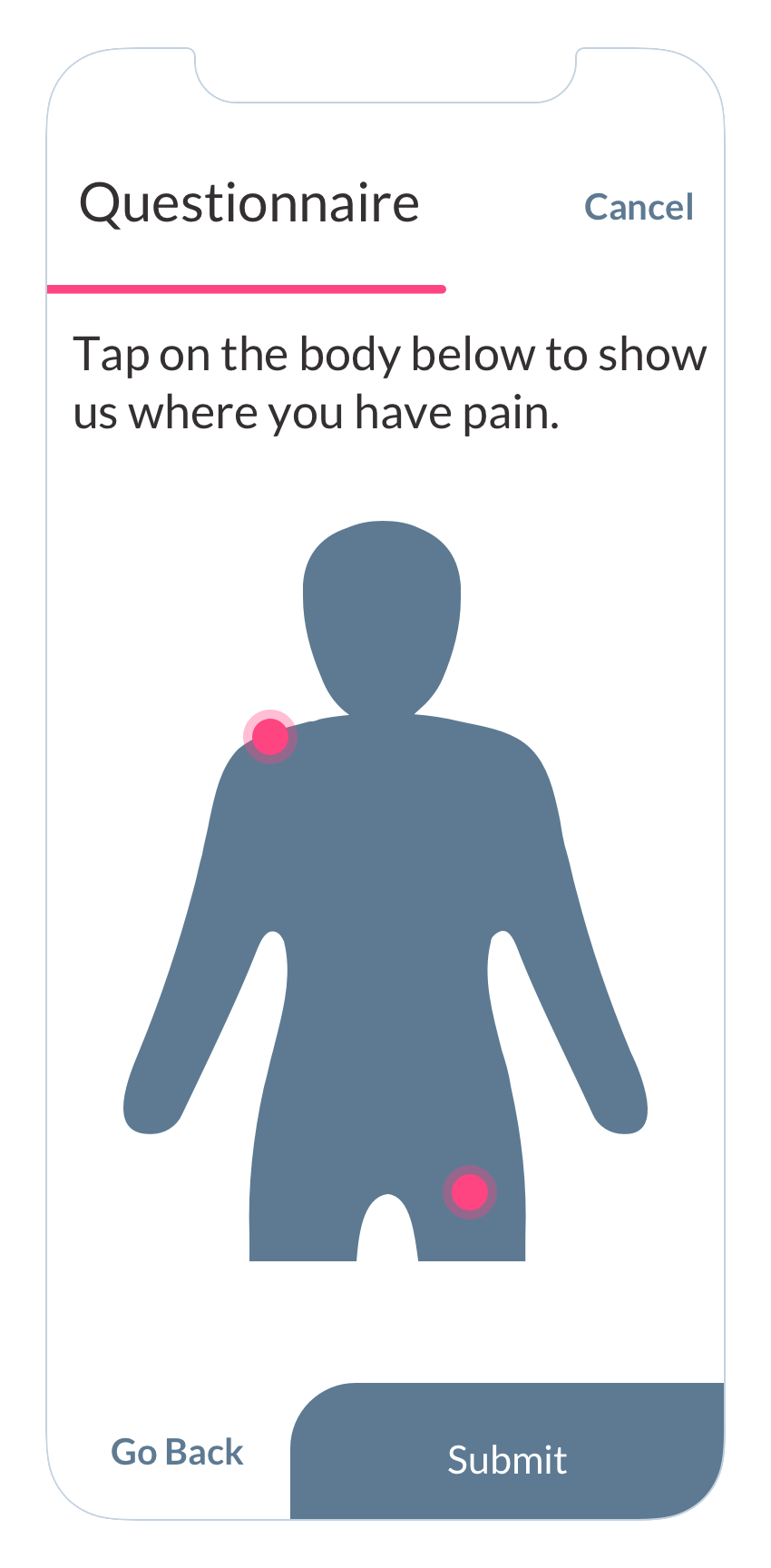 """Pain"" questionnaire on the ObvioHealth app."