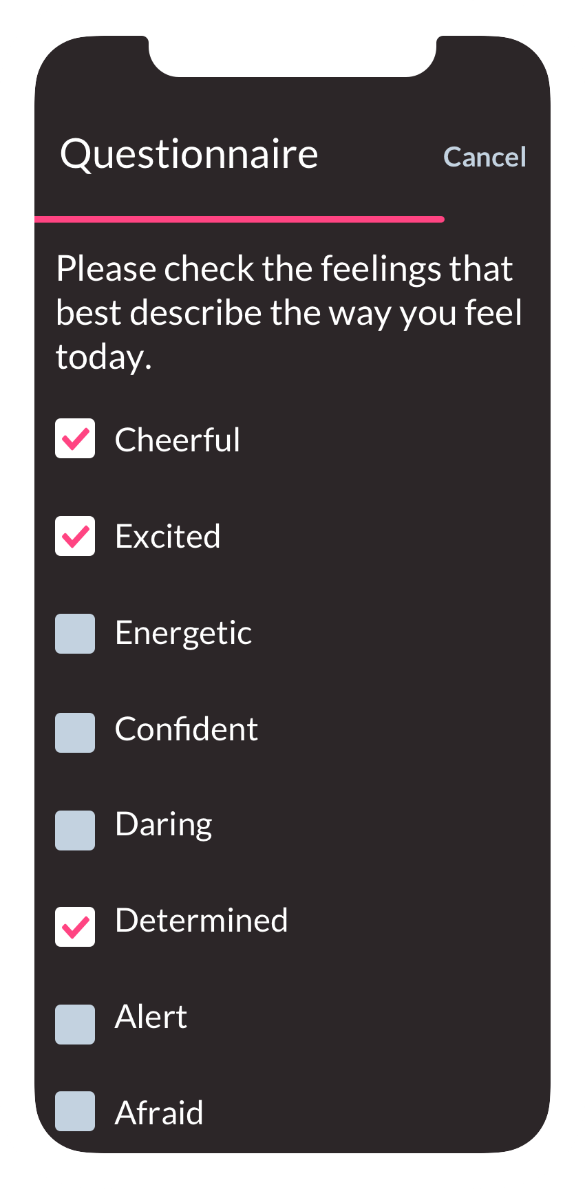 """How are you feeling?"" questionnaire on the ObvioHealth app."