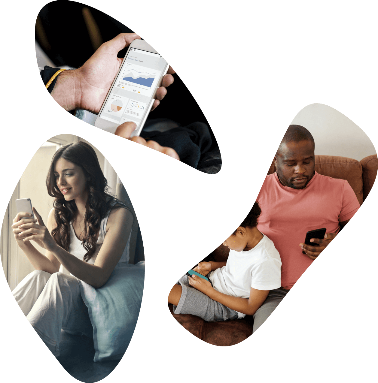 Collage of 3 images contained in organic shapes. 1. Close up of persons hands holding phone, showcasing data.  2. Woman sitting on floor on her phone. 3. Father and son on couch, father looking at phone.