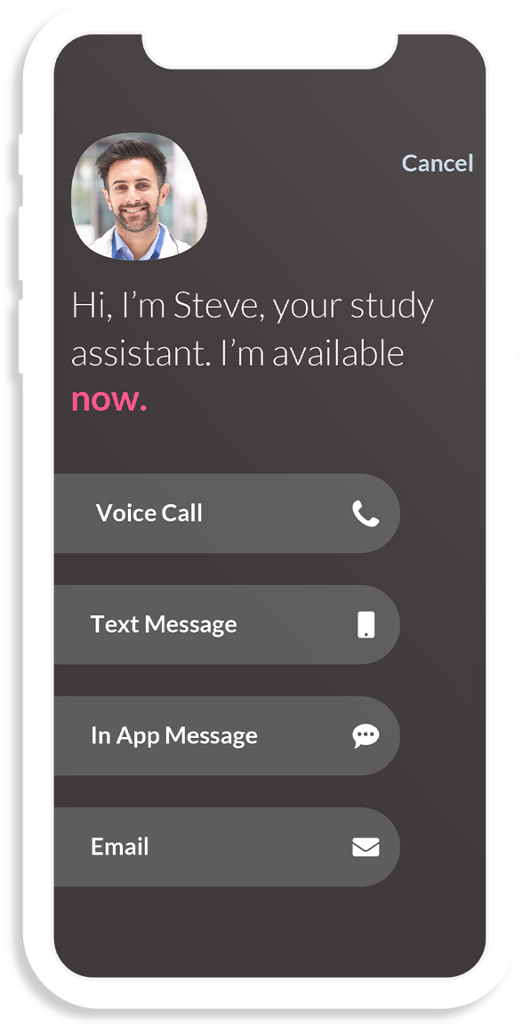 A phone mockup showcasing the screen for a virtual assitant.
