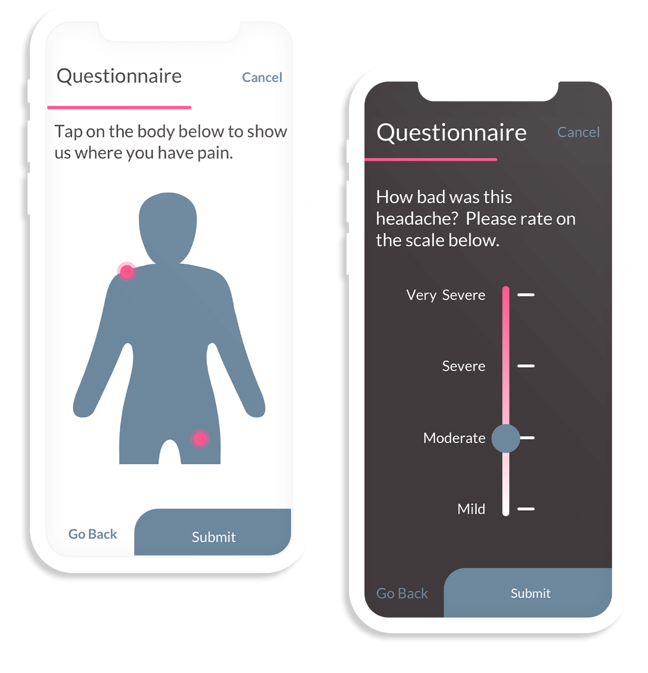 Two side-by-side pain-related next gen ePRO questionnaires. One is a sliding scale for pain severity, the other asks the user to point to a graphic of a human body to denote where they are experiencing pain.