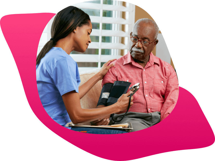 An image framed in organic shapes.  The Image shows a home nurse taking the blood pressure of and older man.