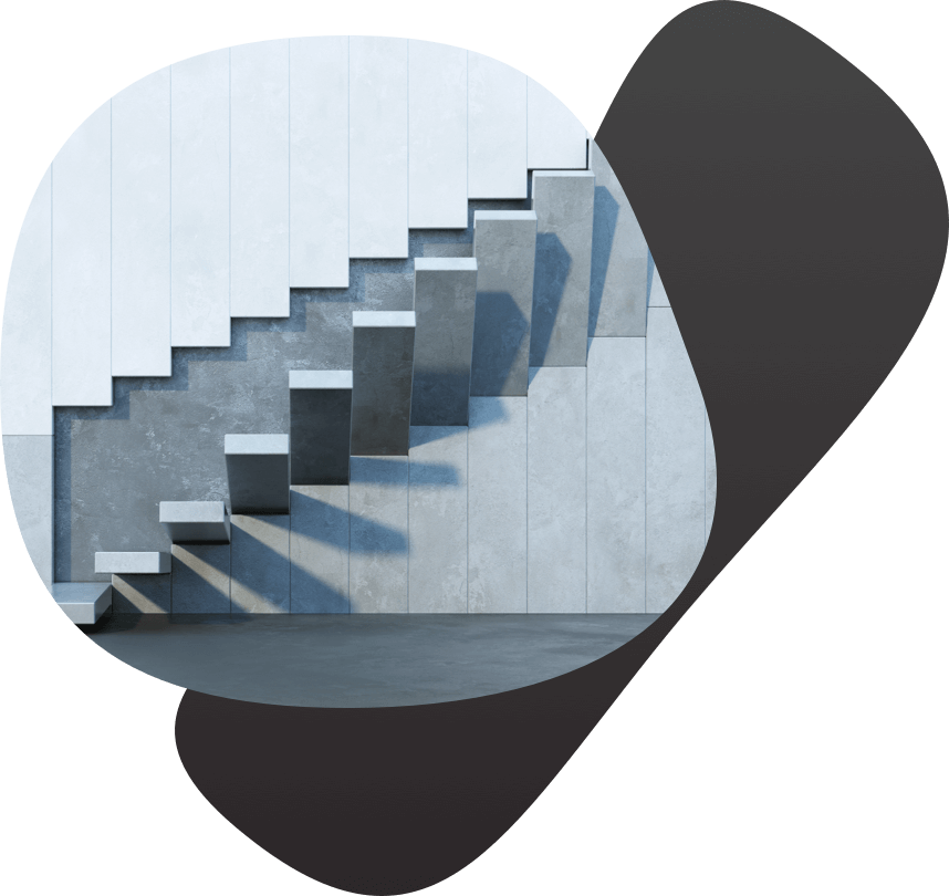 Abstract stairs slowly lowering to build a staircase. Image is framed by organic shapes.