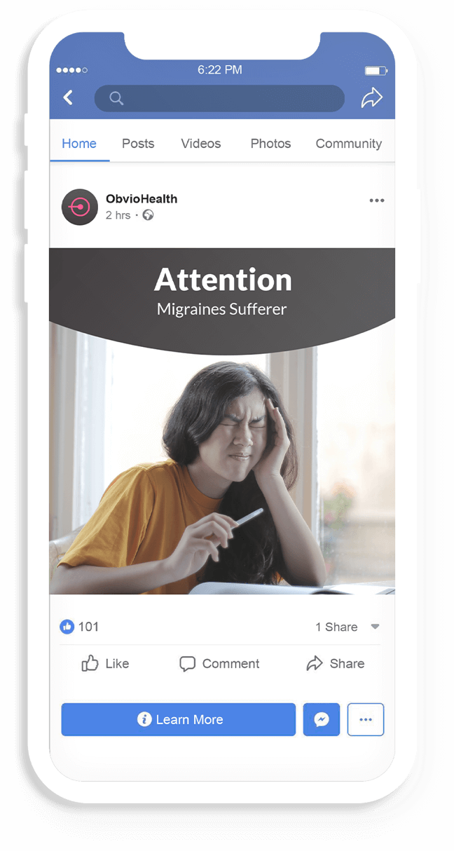 A phone mockup of a Facebook ad asking if you suffer migraines.