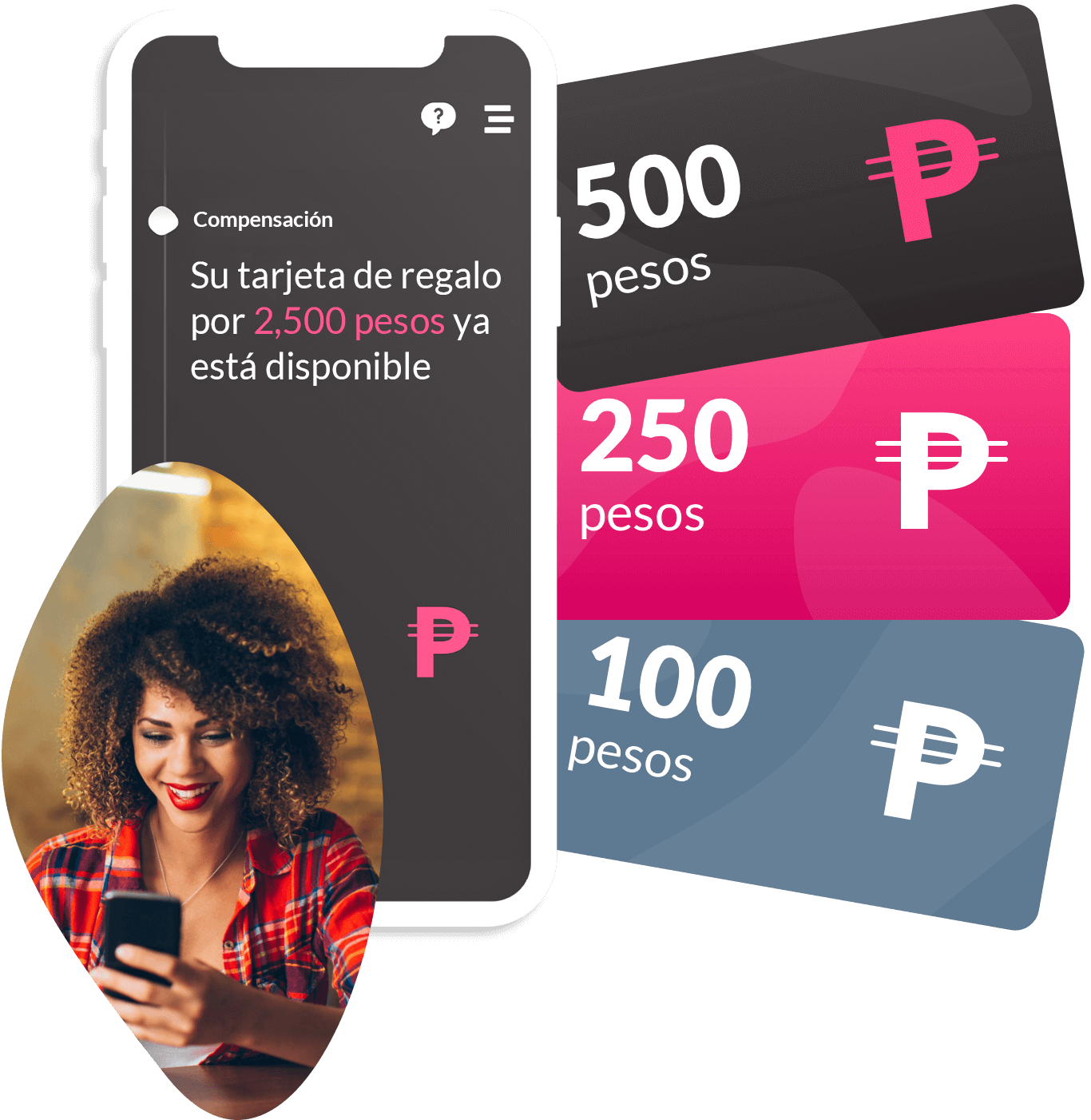 3 images. 1. a phone mockup with app screen in Spanish, announcing your payment from participating is available. 2. A woman smiling looking at her phone. 3. Three Peso gift cards.
