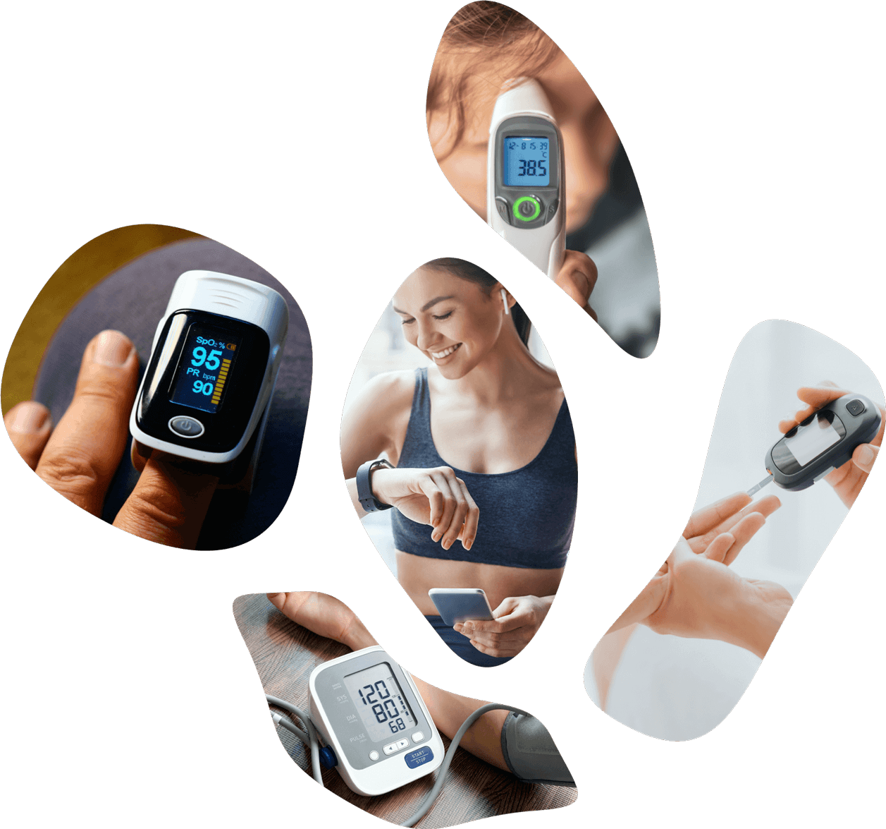 A collage of devices that check temp, blood pressure, etc.