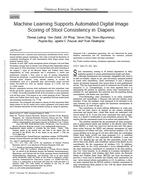 Machine Learning Supports Automated Digital Image Scoring of Stool Consistency in Diapers (cover)