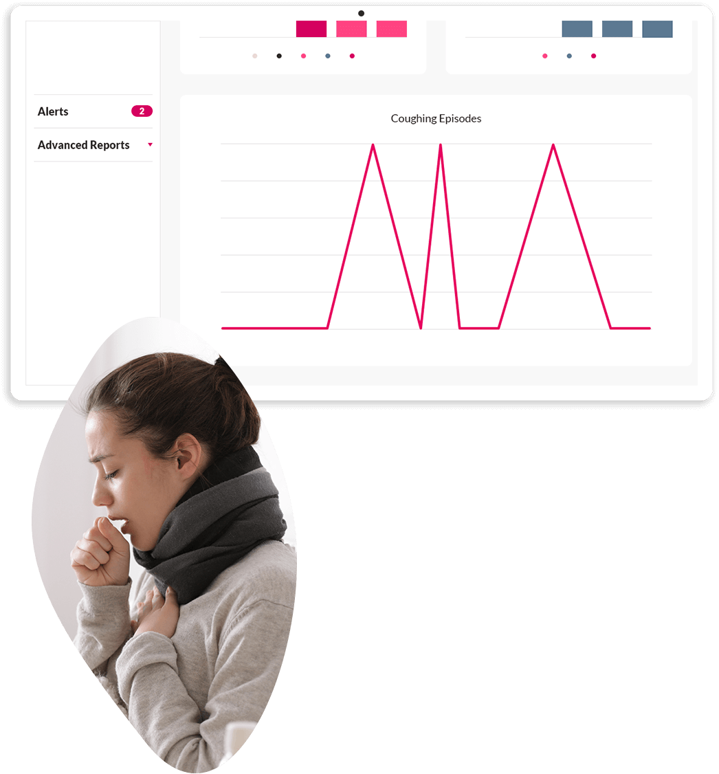 An study dashboard showing cough episodes recorded during the study. A corresponding image below shows a woman coughing.