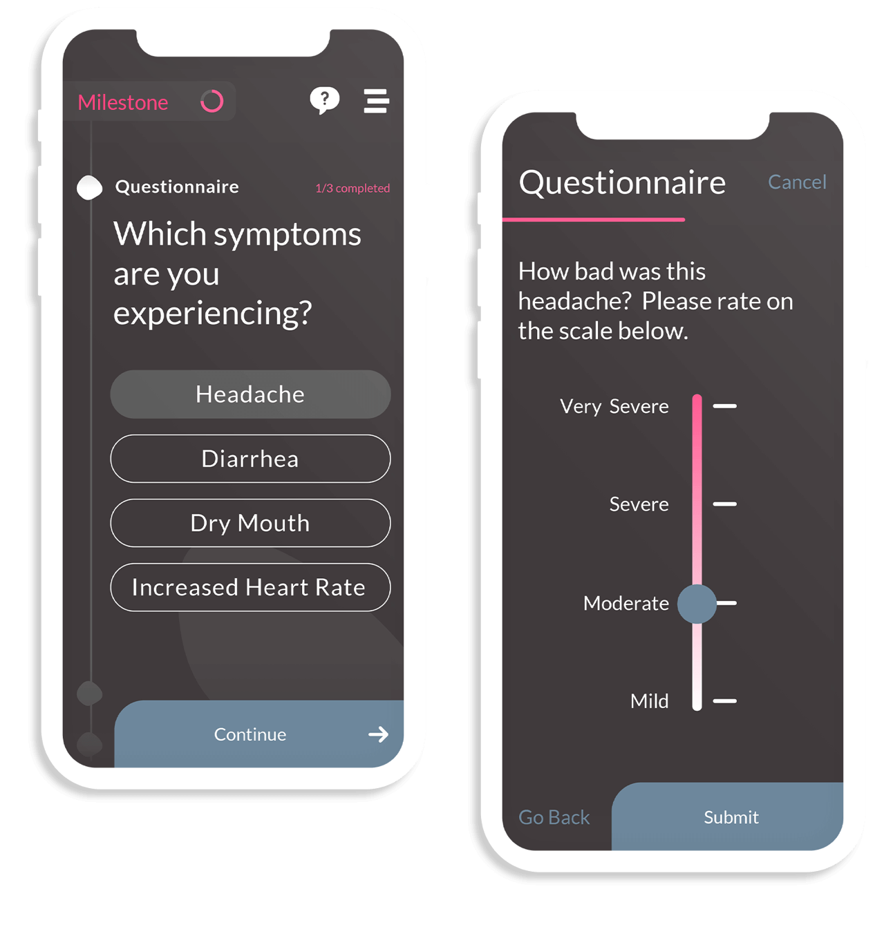 A side-by-side of a questionnaire measuring presence of various symptoms (i.e. diarrhea, dry mouth) and a corresponding sliding scale that describes headache severity.