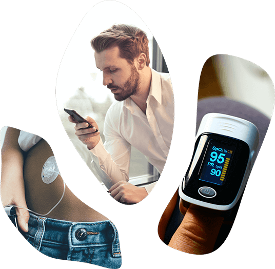 A man holding a phone, a lady wearing a sensor and a finger-tip heart rate monitor - all functional parts of a digital clinical trial.