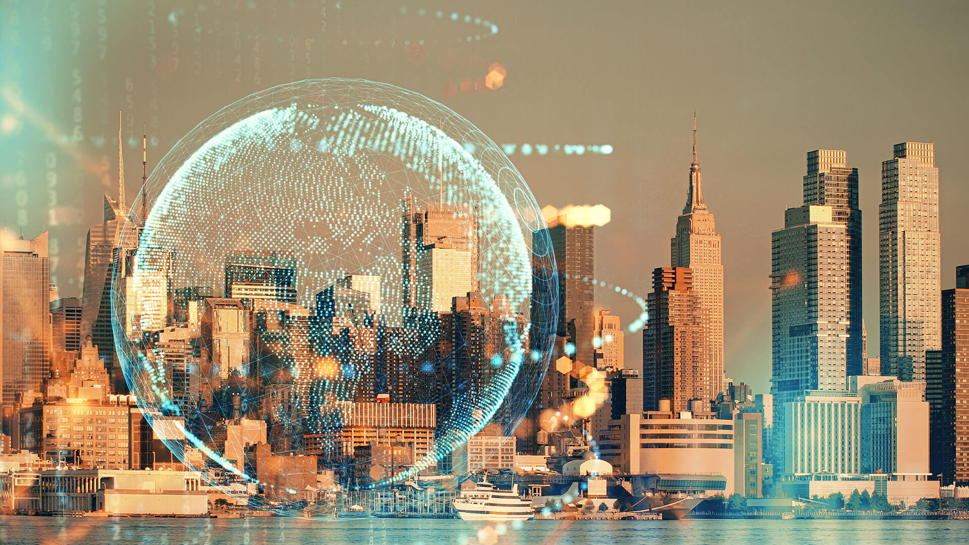 A cityscape with a virtual overlay of a globe and data.