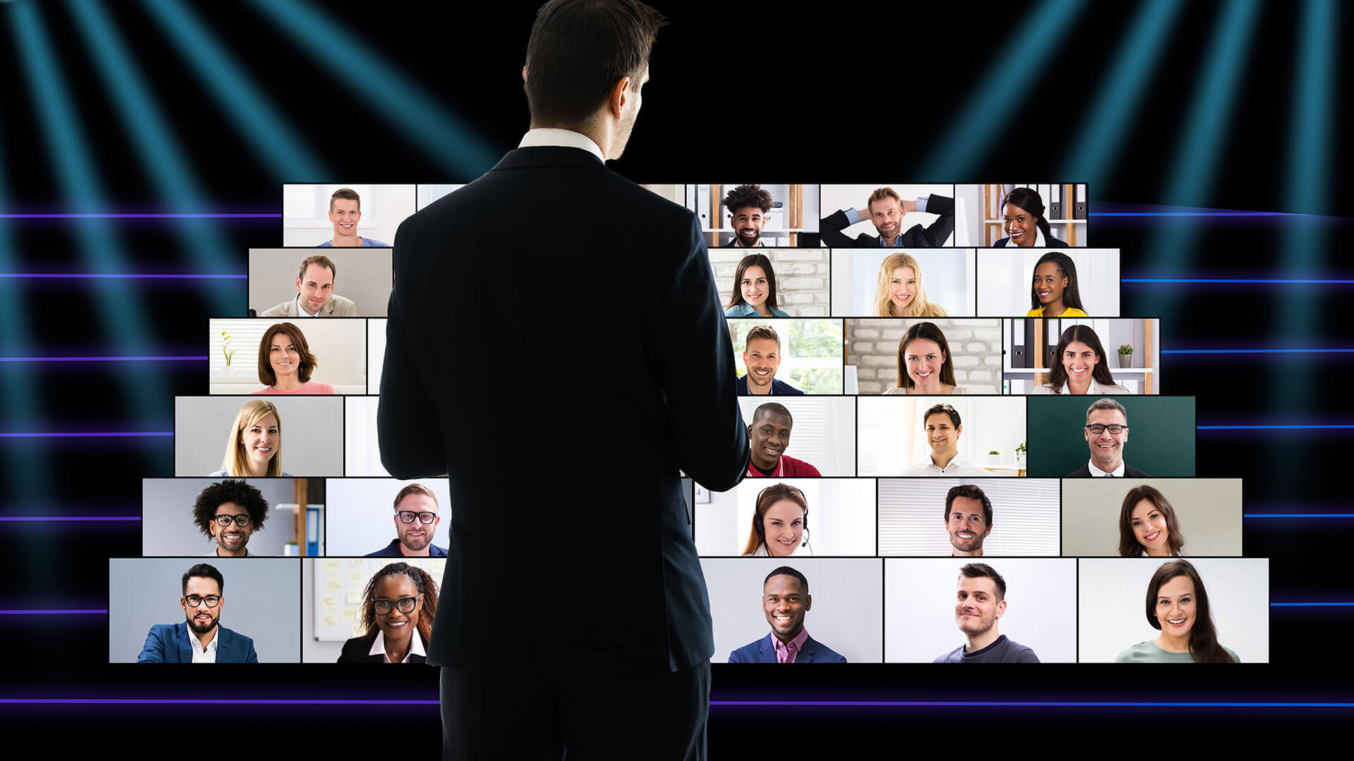 A conceptual image of a presenter speaking in front of a virtual audience.