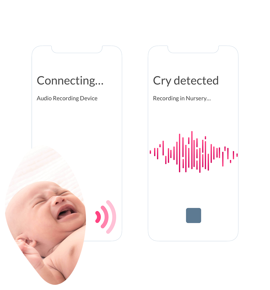 The Obvio App showing a recording device picking up the cry of an infant located in a the nursery.