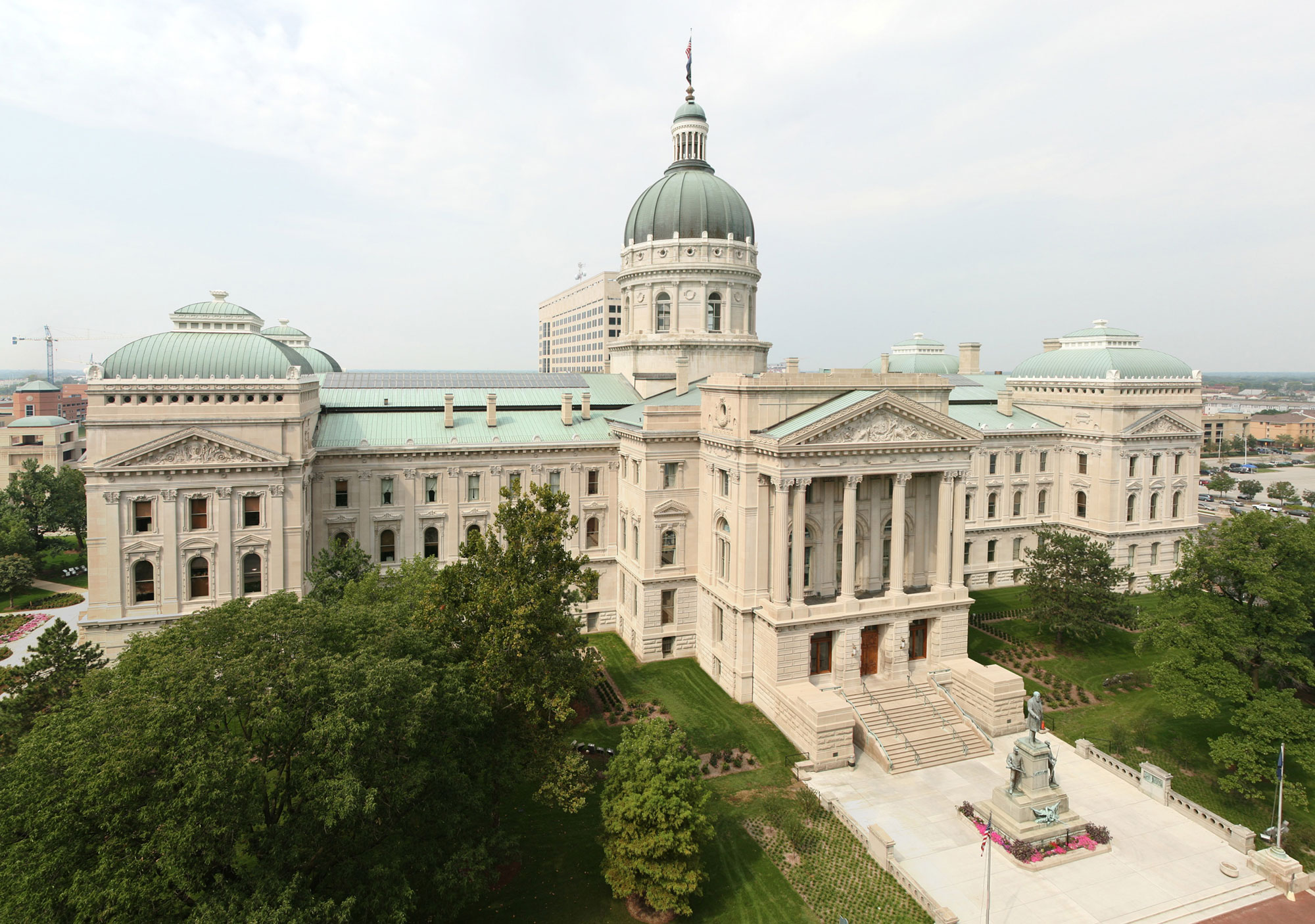 Aerial view of Indiana state capitol