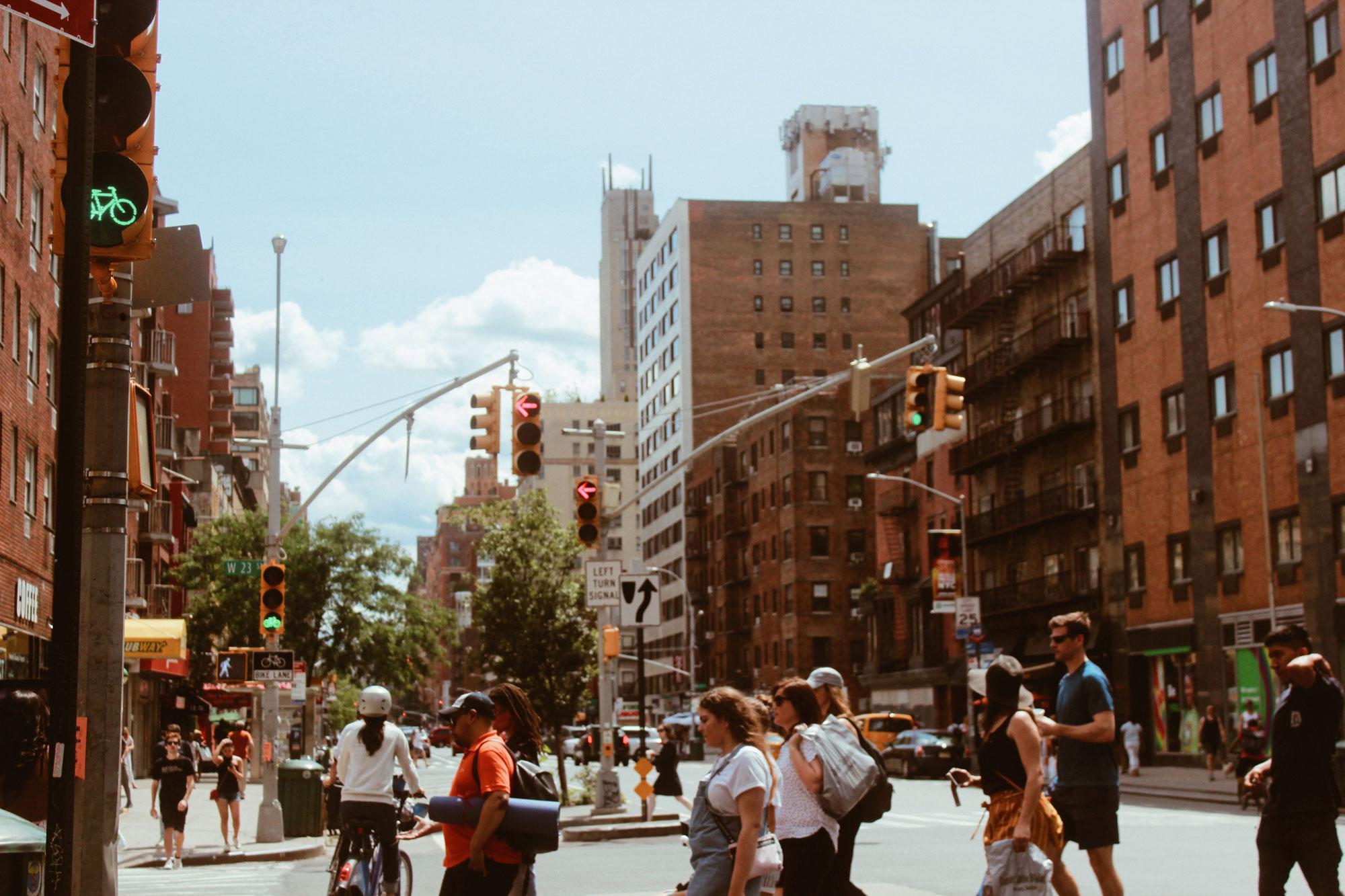 Busy crosswalk in a city