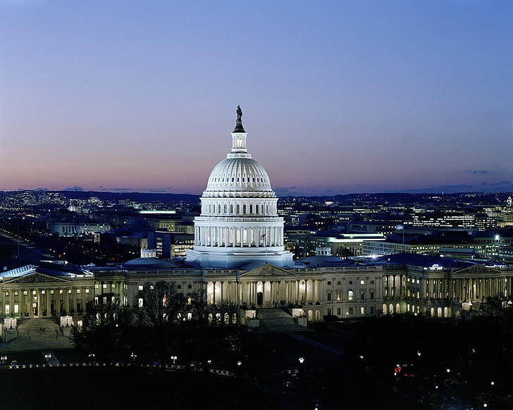 Evening view of US capitol