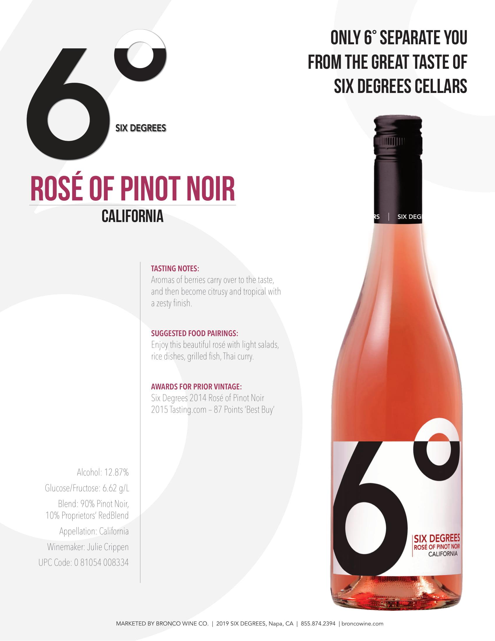 6 Degrees Rosé of Pinot Noir Sell Sheet