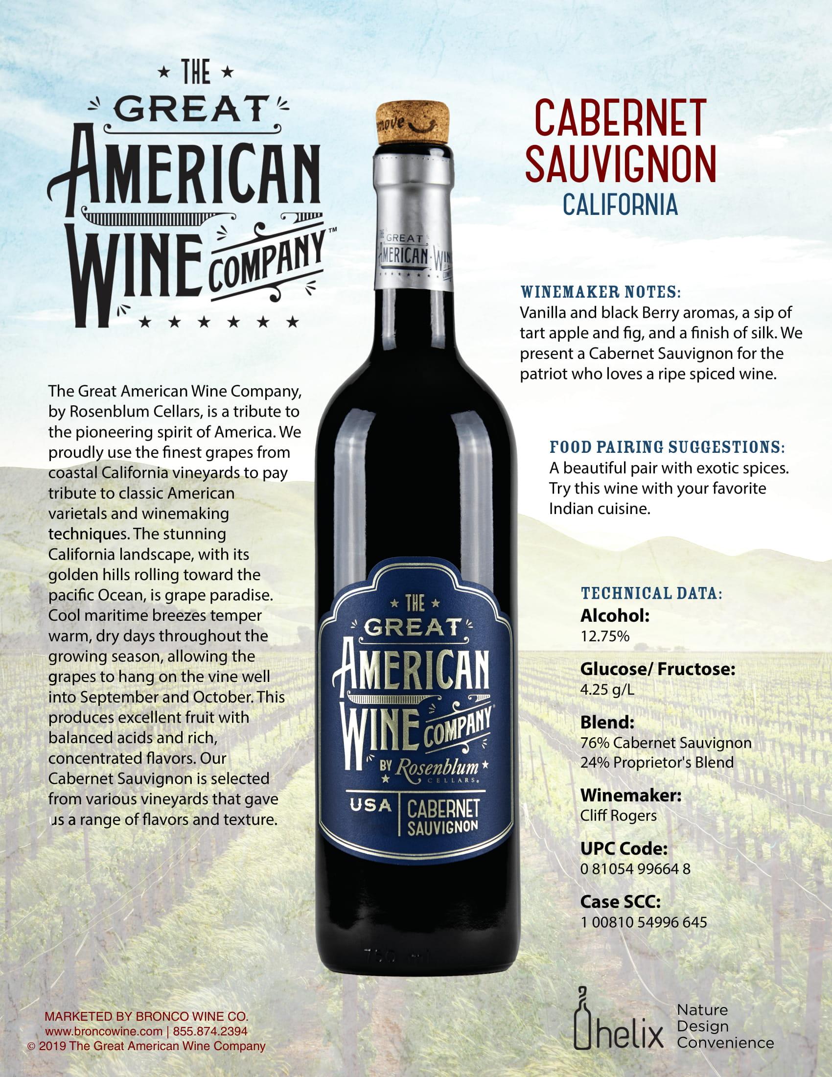 The Great American Wine Company Cabernet Sauvignon Tech Sheet