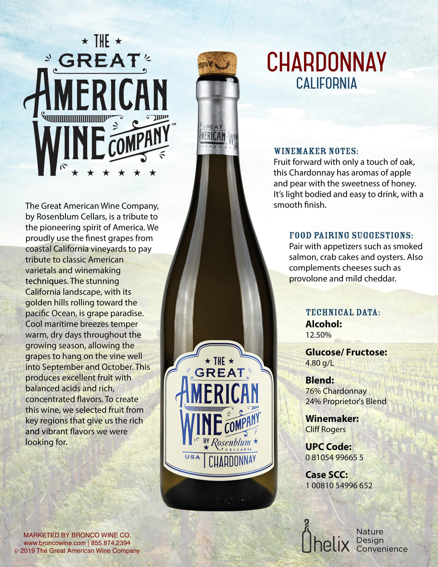 The Great American Wine Company Chardonnay Tech Sheet