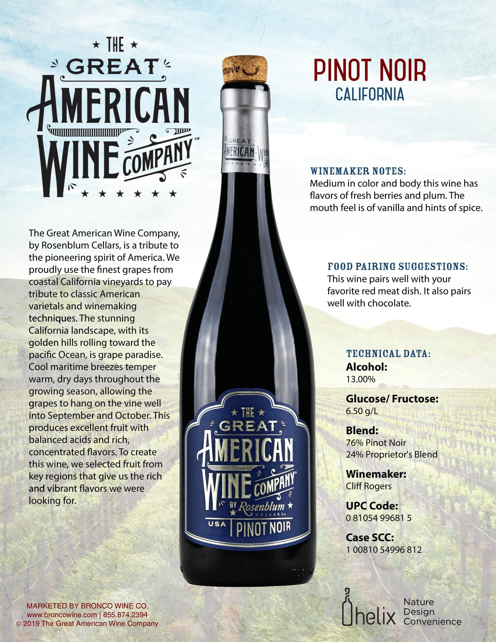 The Great American Wine Company Pinot Noir Tech Sheet