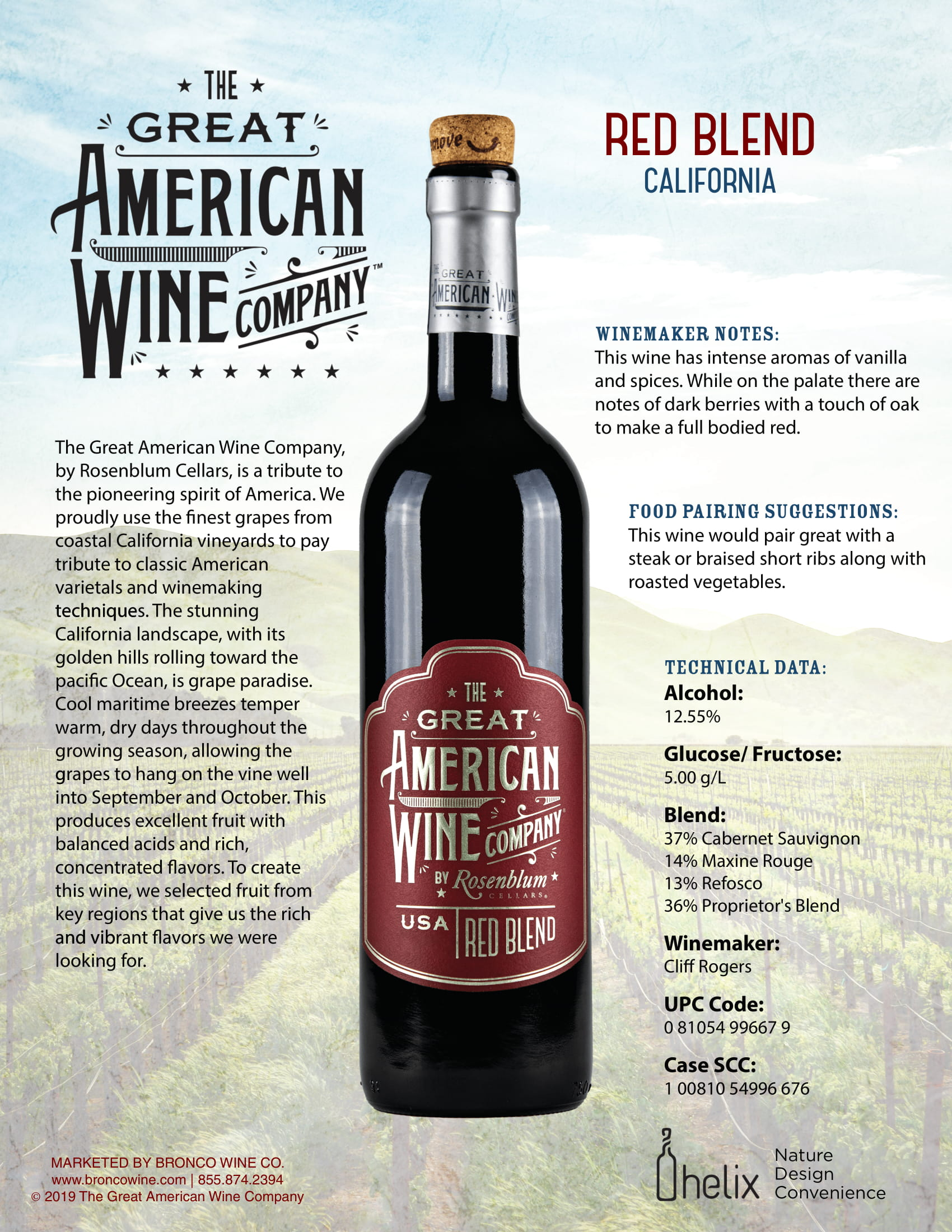 The Great American Wine Company Red Blend Tech Sheet