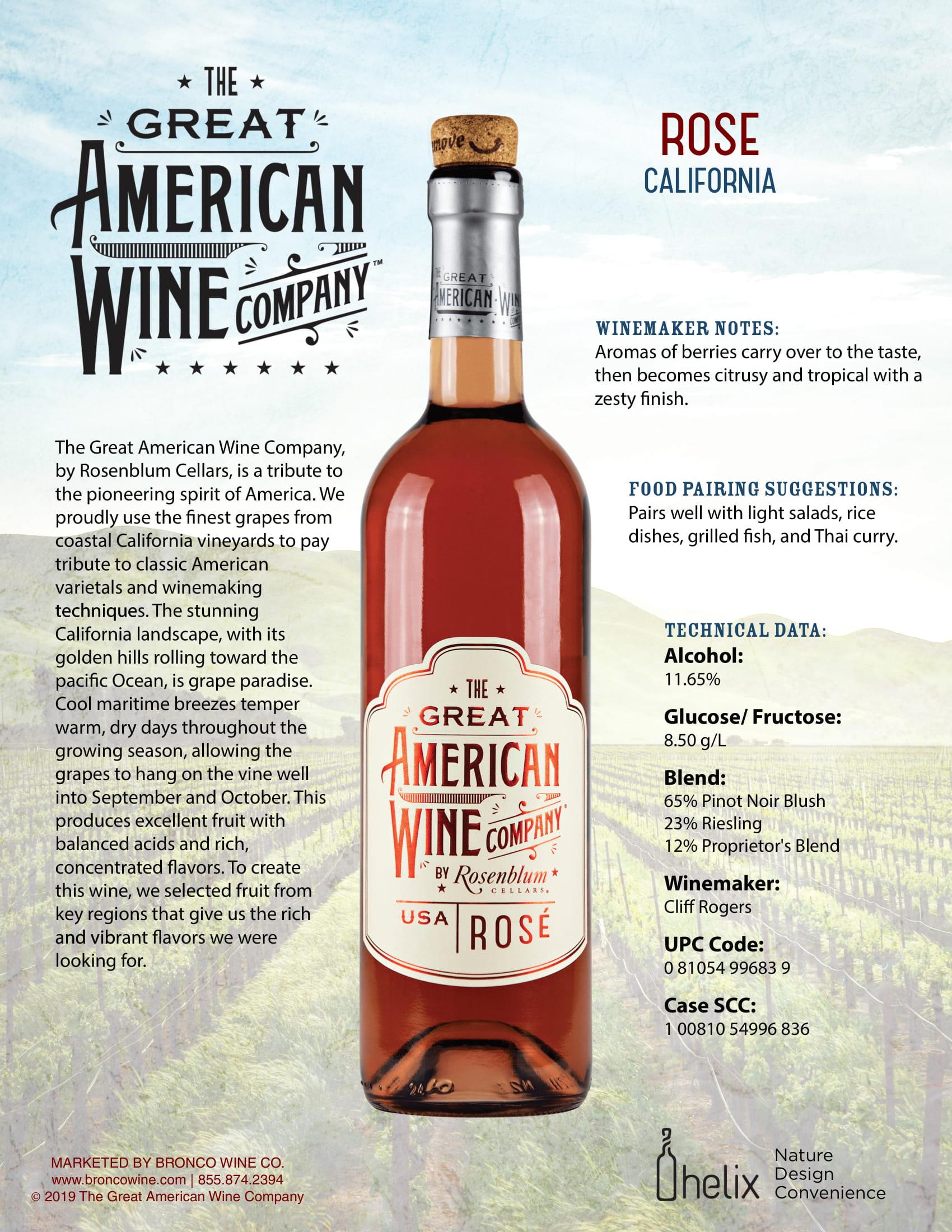The Great American Wine Company Rosé Tech Sheet