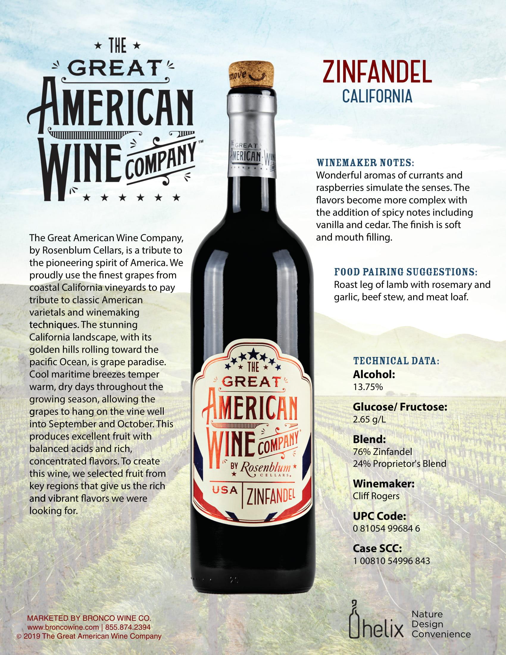 The Great American Wine Company Zinfandel Tech Sheet