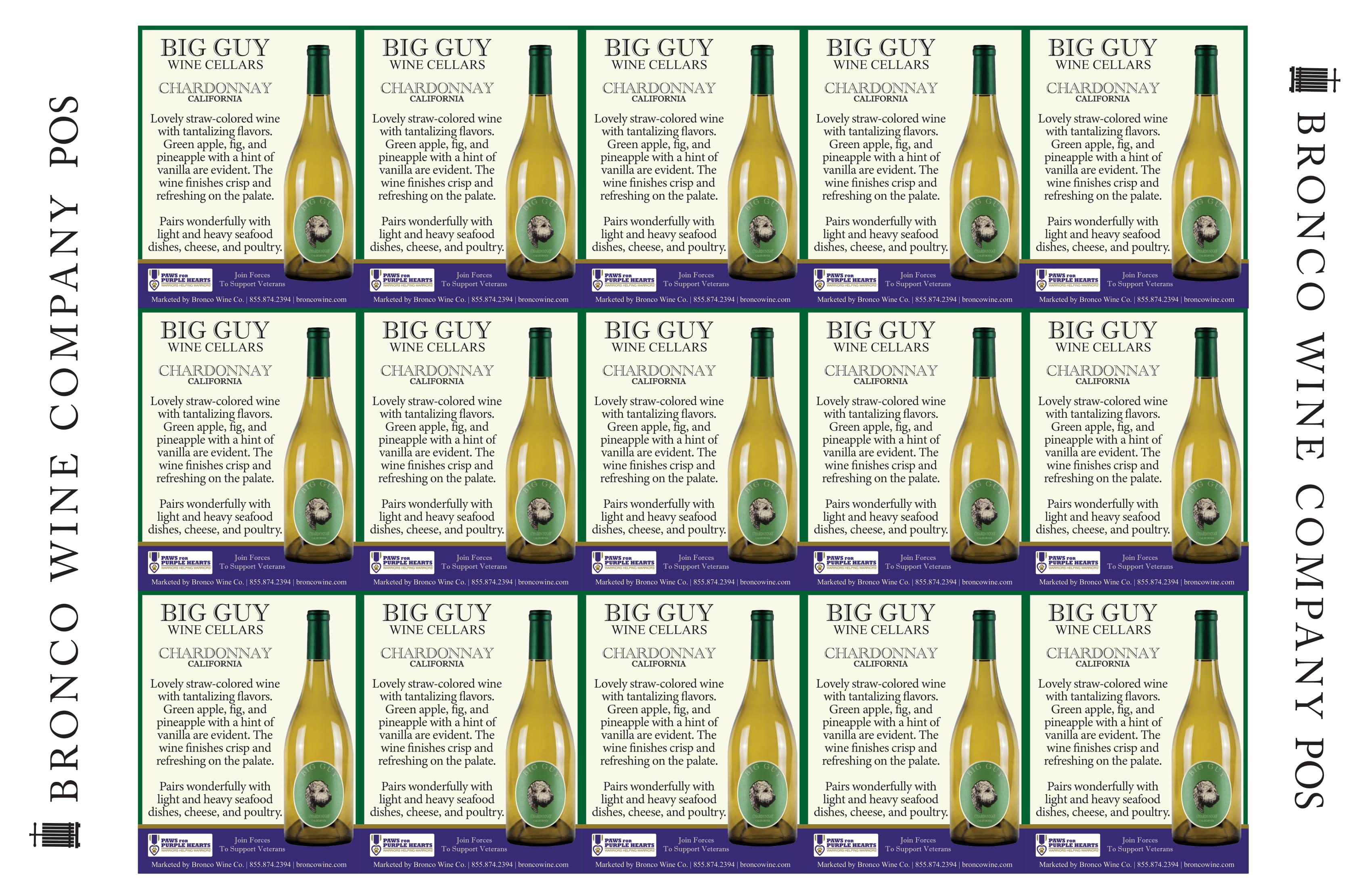 Big Guy Chardonnay Shelf-Talkers