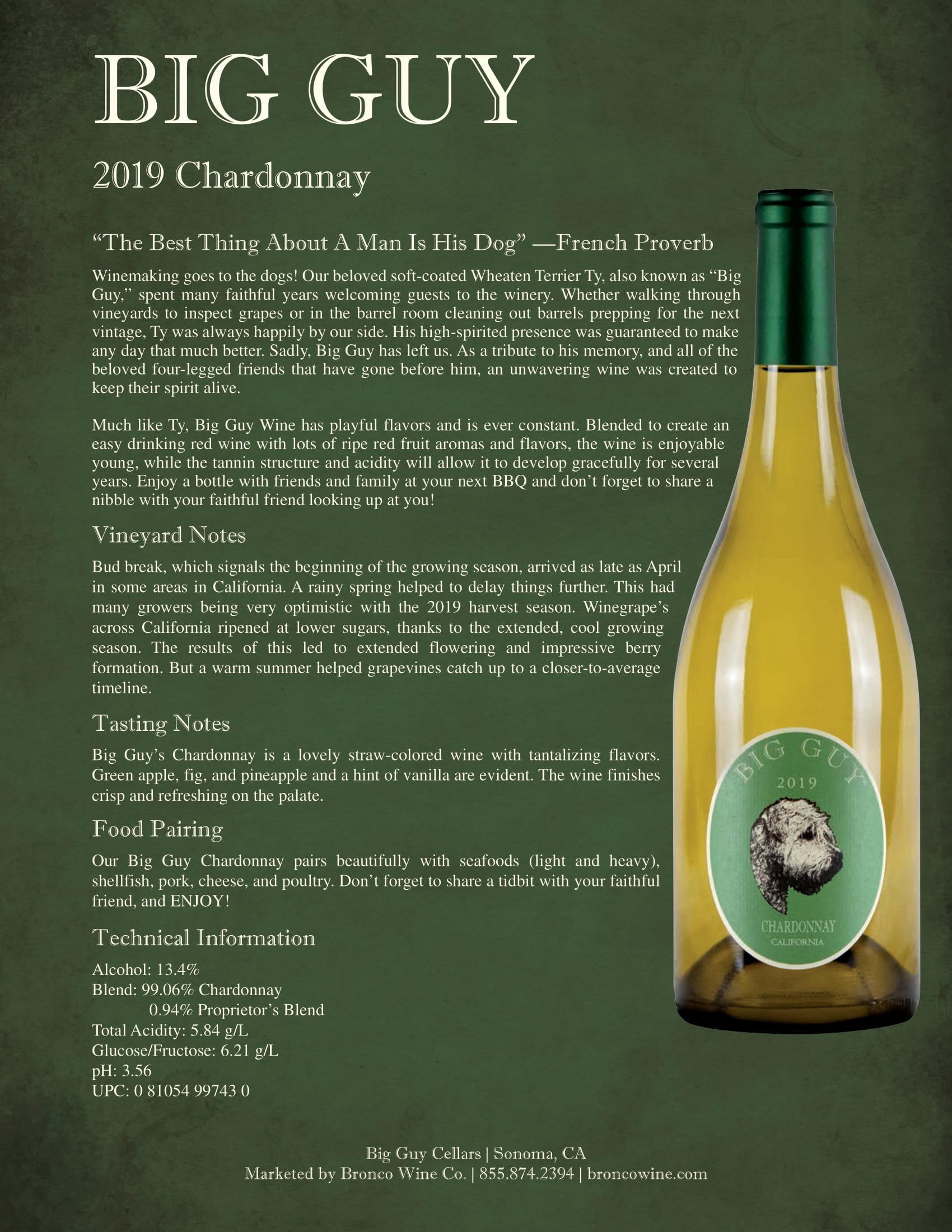 Big Guy Chardonnay Sell Sheets