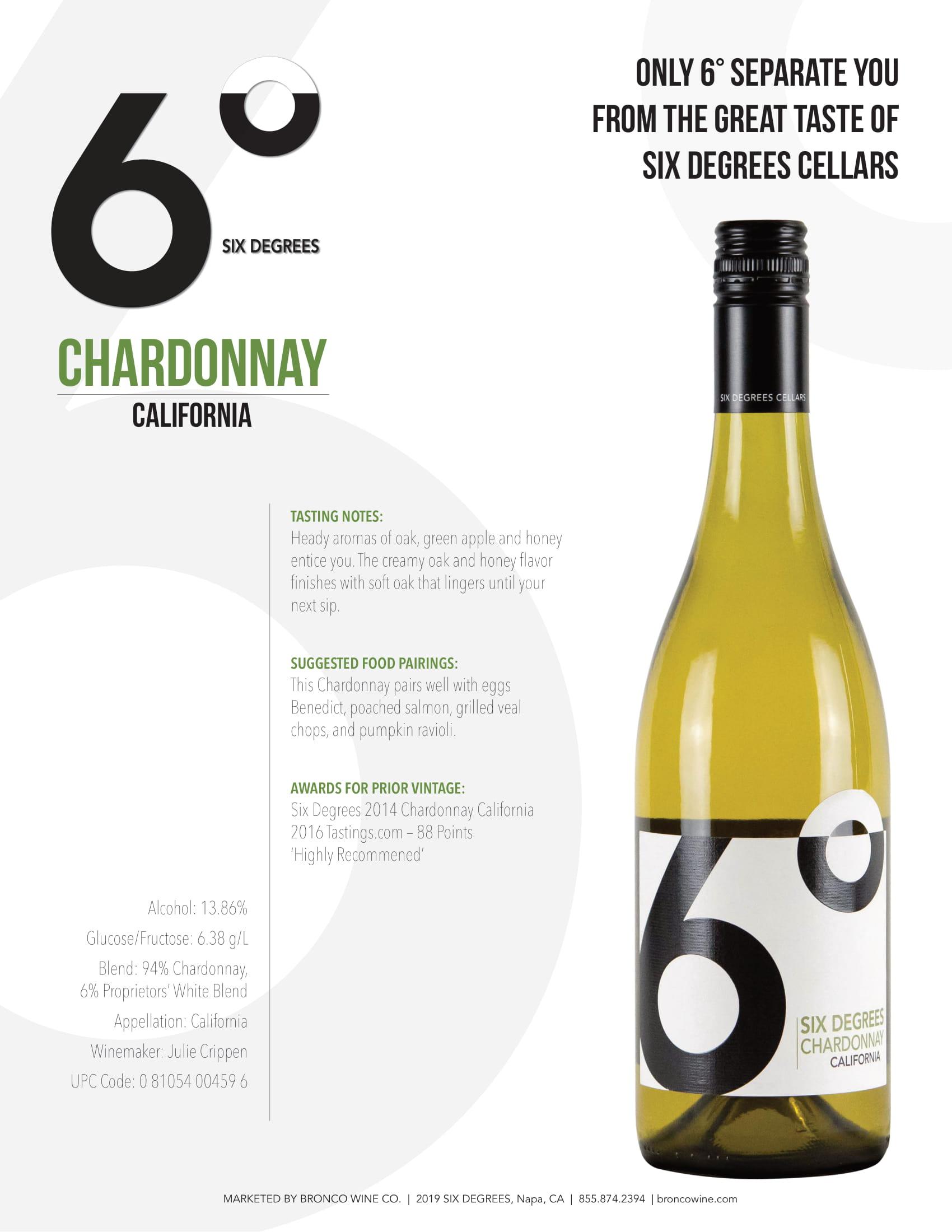 6 Degrees Chardonnay Sell Sheets