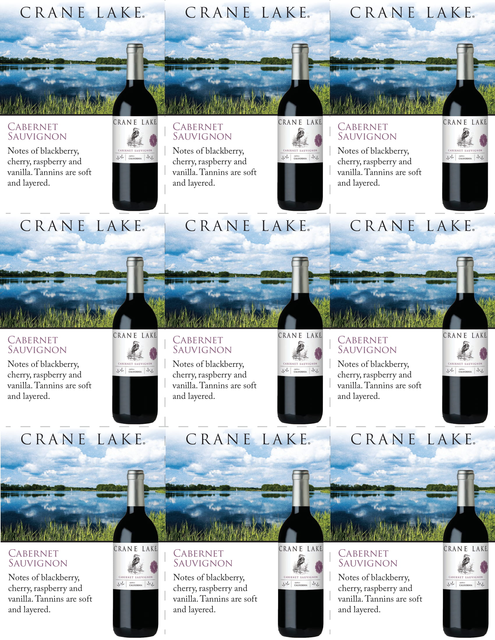 Crane Lake Cabernet Sauvignon Shelf Talkers