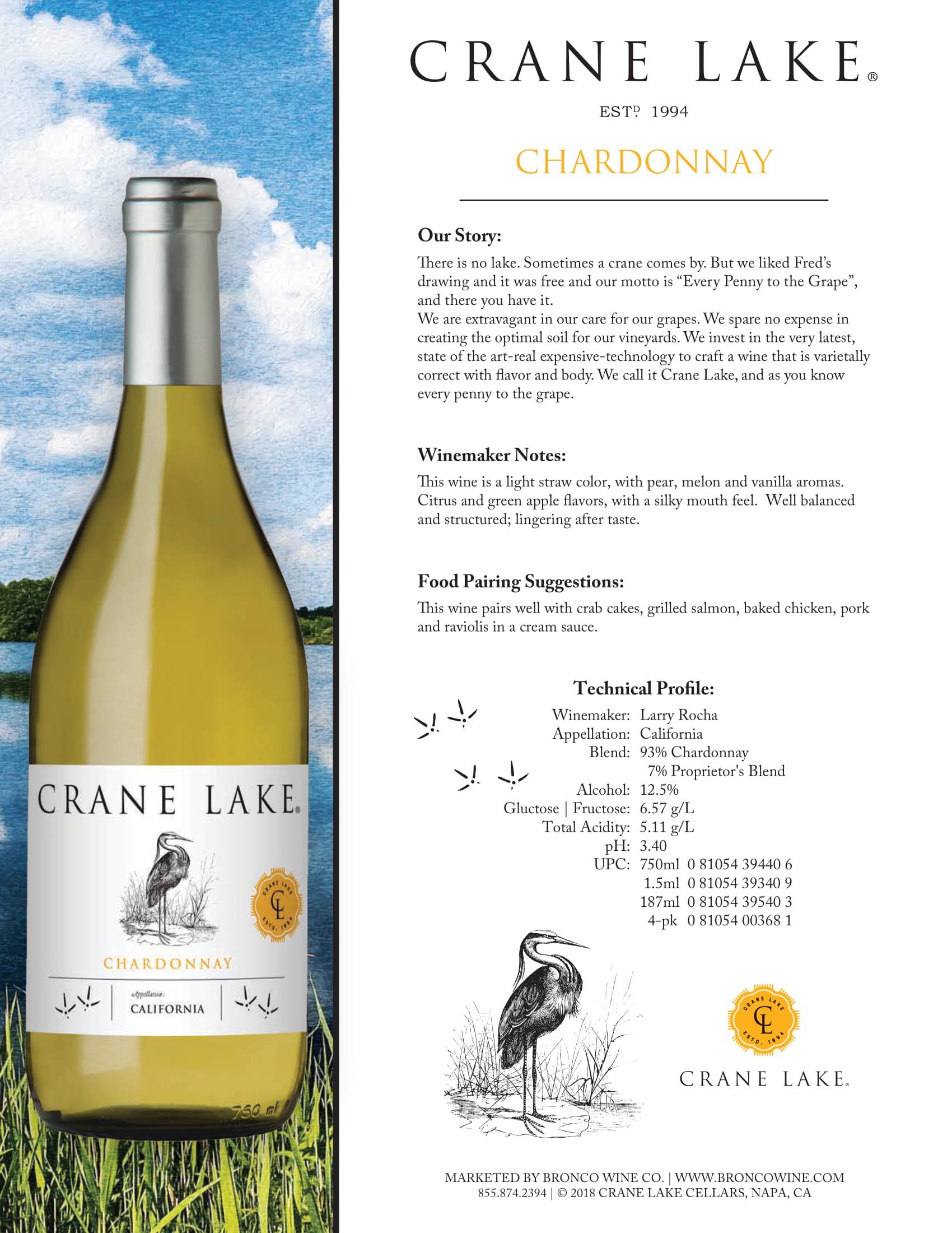 Crane Lake Chardonnay Tech Sheet